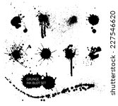 Vector set of ink splashes, ink blots. Splatter collection. - stock vector