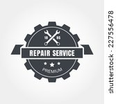 Vintage style car repair service label. Vector logo design template.
