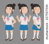 cartoon style asian girl in... | Shutterstock .eps vector #227557534