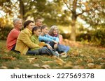 walk a large family in the... | Shutterstock . vector #227569378