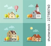 flat design urban landscape set ... | Shutterstock .eps vector #227580760