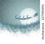 christmas landscape with santa... | Shutterstock .eps vector #227590393