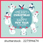 christmas card with cute little ... | Shutterstock .eps vector #227594674