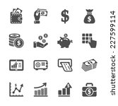 money and finance icon set, vector eps10 | Shutterstock vector #227599114