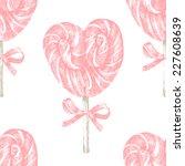 hand drawn pink lollipop heart...   Shutterstock .eps vector #227608639