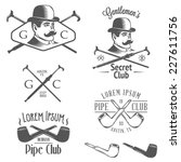 set of vintage gentlemen club... | Shutterstock .eps vector #227611756