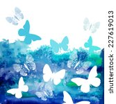 Watercolor Blue Background Wit...