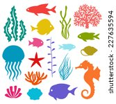 Marine Life Set Of Icons ...