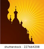 spires of a church in...   Shutterstock .eps vector #227664208