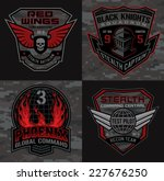 stealth pilot military patch set | Shutterstock .eps vector #227676250