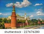 moscow kremlin in russia  view... | Shutterstock . vector #227676280