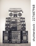 retro big radio cassette and... | Shutterstock . vector #227687968