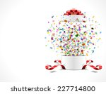 gift box open and with red bow... | Shutterstock .eps vector #227714800
