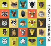 animal portrait set with flat... | Shutterstock .eps vector #227729248