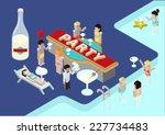 flat party 3d isometric modern... | Shutterstock .eps vector #227734483