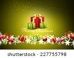 christmas  gift box with bubbles | Shutterstock . vector #227755798