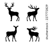 Stock vector deer collection vector silhouette 227772829