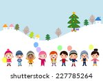 winter kids with balloons | Shutterstock .eps vector #227785264