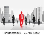 red businessman silhouette ... | Shutterstock .eps vector #227817250