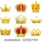 set of 9 golden crowns vector... | Shutterstock .eps vector #227817754