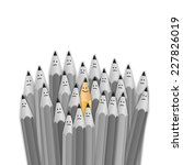 one bright color smiling pencil ... | Shutterstock .eps vector #227826019