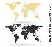 world map  wooden design... | Shutterstock .eps vector #227854309