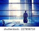 city scape businessman thinking ... | Shutterstock . vector #227858710