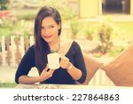 coffee. beautiful  asian girl... | Shutterstock . vector #227864863