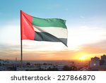 a big flag of uae flying high... | Shutterstock . vector #227866870