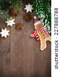 wooden background with fir... | Shutterstock . vector #227888788
