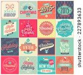 christmas set   labels  emblems ... | Shutterstock .eps vector #227893633