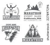set of running marathon and...   Shutterstock .eps vector #227897296