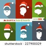 santa hats and beards. flat... | Shutterstock .eps vector #227900329