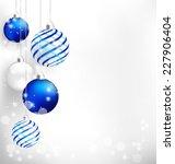 blue spiral christmas balls... | Shutterstock .eps vector #227906404