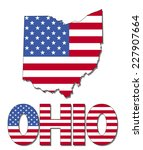 ohio map flag and text vector... | Shutterstock .eps vector #227907664