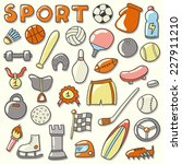 sport icon set. hand drawn... | Shutterstock .eps vector #227911210