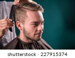 hairdresser  does   hair  with... | Shutterstock . vector #227915374
