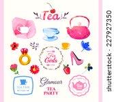watercolor set tea elements.... | Shutterstock .eps vector #227927350