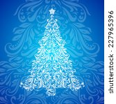 christmas tree made of floral... | Shutterstock .eps vector #227965396