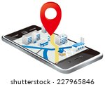 markers on smart phone with map  | Shutterstock .eps vector #227965846