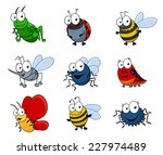 set of cartoon insects isolated ...   Shutterstock .eps vector #227974489