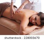 masseur doing massage on woman... | Shutterstock . vector #228003670
