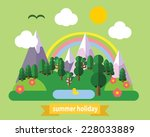 set of different landscapes in... | Shutterstock .eps vector #228033889