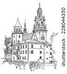 krakow. poland. the wawel... | Shutterstock .eps vector #228044350