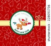 vintage retro christmas label... | Shutterstock . vector #228051736