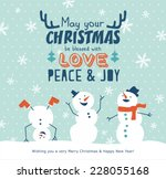 christmas card with snowman | Shutterstock .eps vector #228055168