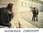 stalking   ex girlfriend spying ... | Shutterstock . vector #228055399