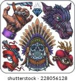 hand drawn set of old school...   Shutterstock .eps vector #228056128