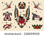 tattoo flash flash vector... | Shutterstock .eps vector #228059020