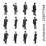 business man holding briefcase... | Shutterstock . vector #228077968